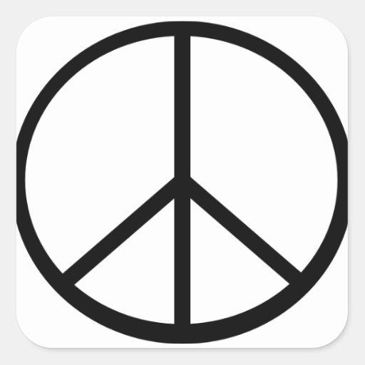 Signo de la paz calcomania cuadrada personalizada