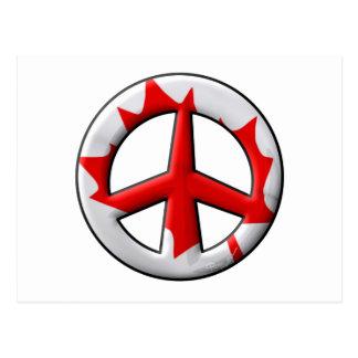 Signo de la paz canadiense de la bandera tarjeta postal