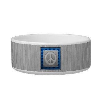 Signo de la paz cepillado de la metal-mirada comedero para mascota