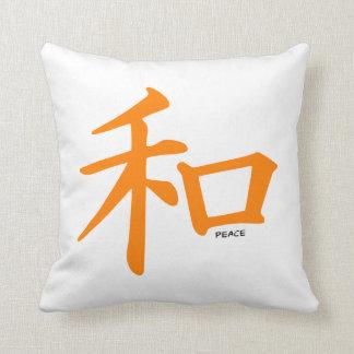 Signo de la paz chino anaranjado cojines