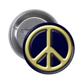 Signo de la paz clásico, oro pin redondo 5 cm