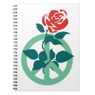 Signo de la paz color de rosa de trabajo spiral notebooks