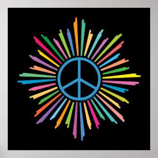 Signo de la paz colorido del anillo de los rayos posters