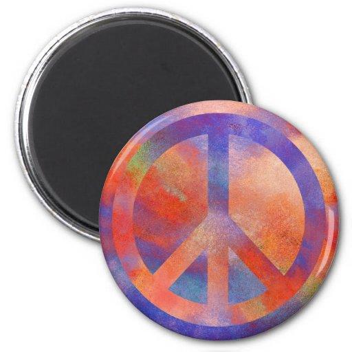 Signo de la paz colorido imán para frigorífico