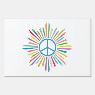 Signo de la paz colorido letrero