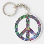Signo de la paz colorido llavero personalizado