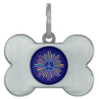 Signo de la paz colorido placa de nombre de mascota