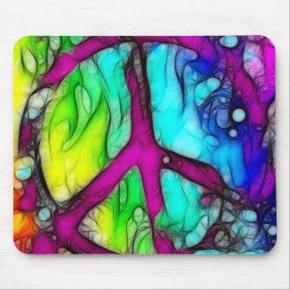 Signo de la paz colorido tapetes de raton
