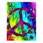 Signo de la paz colorido tarjeta postal