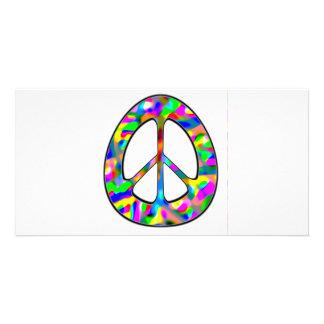 signo de la paz colorido tarjetas fotográficas personalizadas