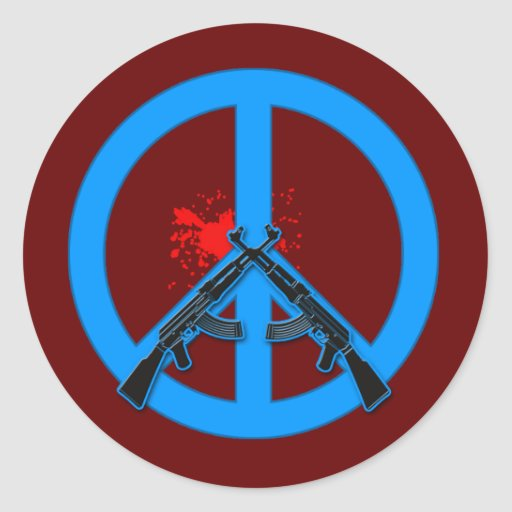 Signo de la paz con AK-47s y la sangre Pegatina Redonda