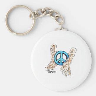 Signo de la paz con alas azul llavero redondo tipo pin