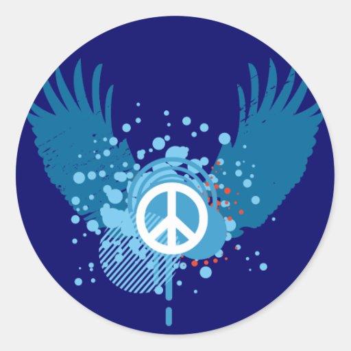 Signo de la paz con alas pegatina redonda
