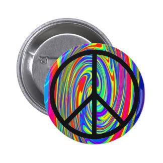 Signo de la paz con el teñido anudado Trippy Pin Redondo 5 Cm