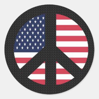 Signo de la paz con la bandera americana etiquetas