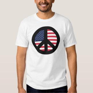 Signo de la paz con la bandera americana playeras