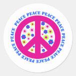 signo de la paz con las flores etiqueta redonda