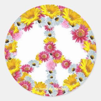 Signo de la paz con las flores pegatinas redondas