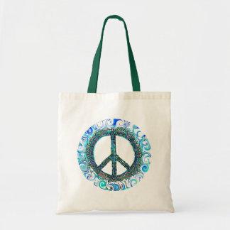 Signo de la paz con las ondas azules bolsas de mano