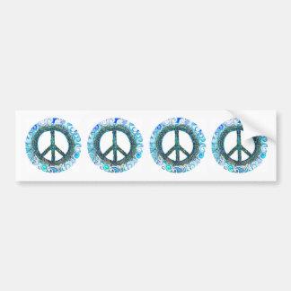 Signo de la paz con las ondas azules pegatina para auto