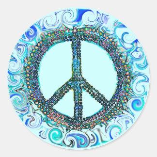 Signo de la paz con las ondas azules pegatina redonda