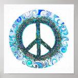 Signo de la paz con las ondas azules posters