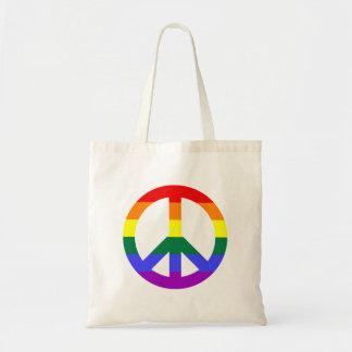 Signo de la paz con las rayas del arco iris bolsa de mano