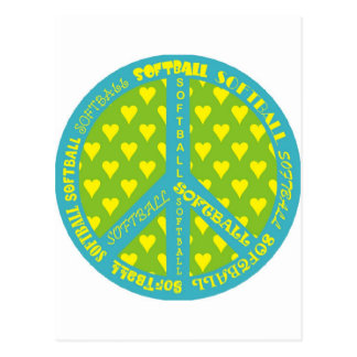 Signo de la paz con softball en marco postal