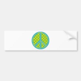 Signo de la paz con voleibol en marco pegatina de parachoque