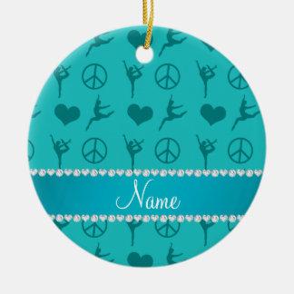 Signo de la paz conocido de encargo de los adorno navideño redondo de cerámica