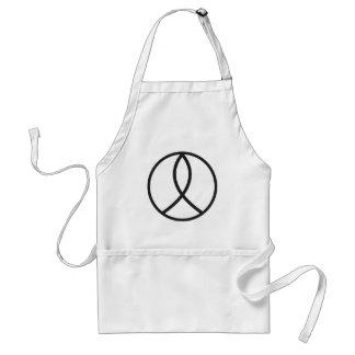 Signo de la paz cristiano en negro llano delantal