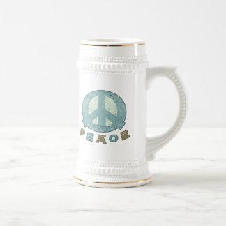 Signo de la paz cuadrado de la comida jarra de cerveza