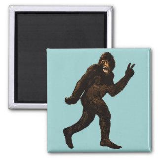 Signo de la paz de Bigfoot Imán Cuadrado