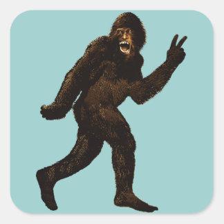 Signo de la paz de Bigfoot Pegatina Cuadrada