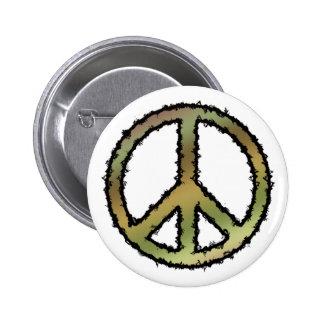 Signo de la paz de Camo Pin Redondo De 2 Pulgadas