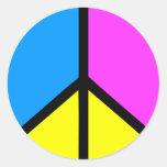 Signo de la paz de CMYK Etiqueta Redonda