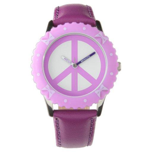 Signo de la paz de color de malva reloj de mano
