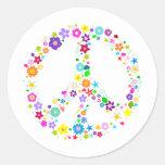Signo de la paz de flores etiqueta redonda