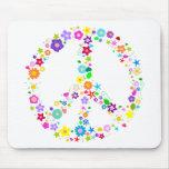 Signo de la paz de flores tapete de raton