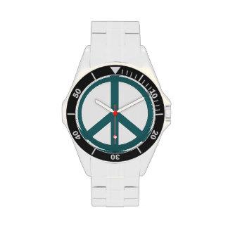 Signo de la paz de Forest Green Relojes De Pulsera