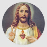 Signo de la paz de Jesús Etiquetas Redondas