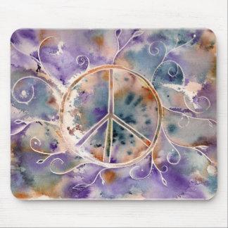 Signo de la paz de la acuarela tapetes de ratón