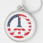Signo de la paz de la bandera americana llavero personalizado