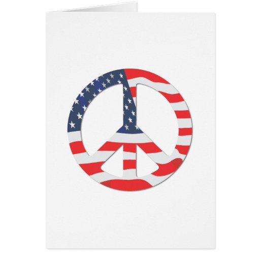 Signo de la paz de la bandera americana tarjeta de felicitación