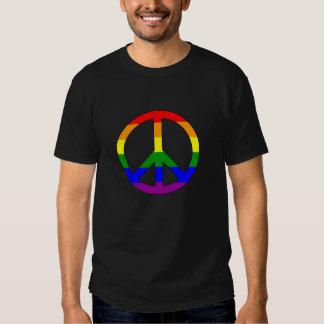 Signo de la paz de la bandera del arco iris poleras
