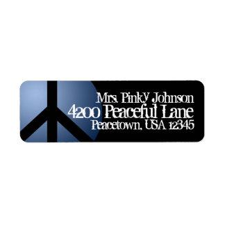 Signo de la paz de la etiqueta de dirección, azul,
