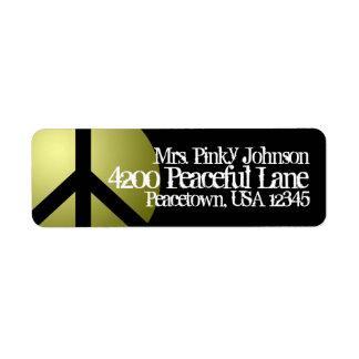 Signo de la paz de la etiqueta de dirección, oro,