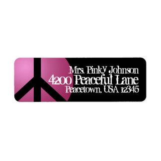 Signo de la paz de la etiqueta de dirección, rosa,