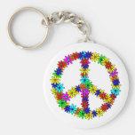 Signo de la paz de la flor del amor llaveros personalizados