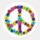 Signo de la paz de la flor del amor etiquetas redondas